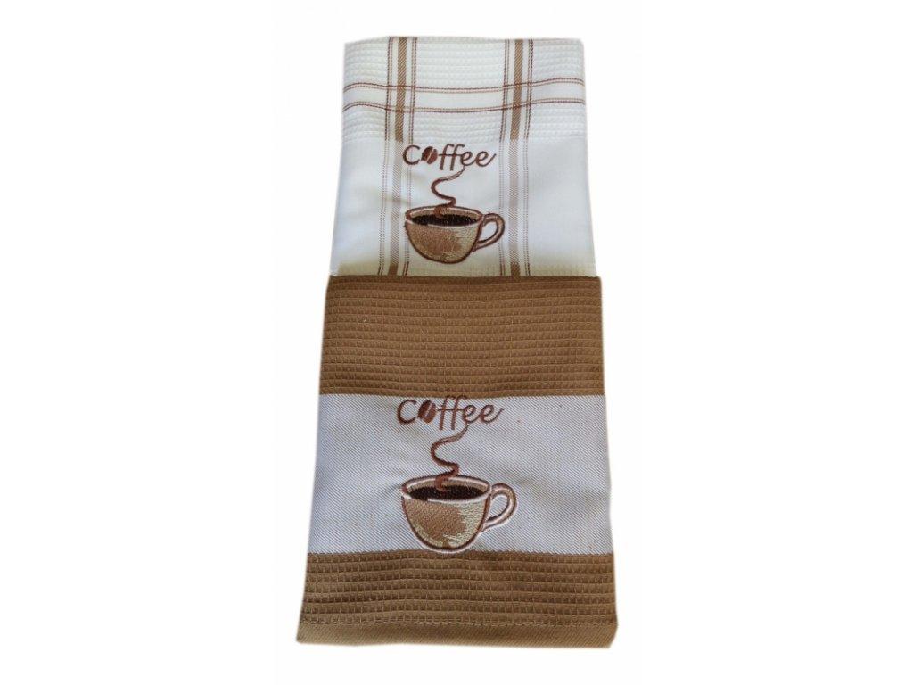 Vyšívané utěrky DUO kava 1