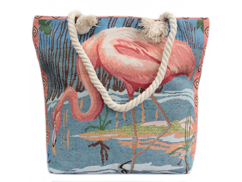 Plážová Taška Růžový Plameňák