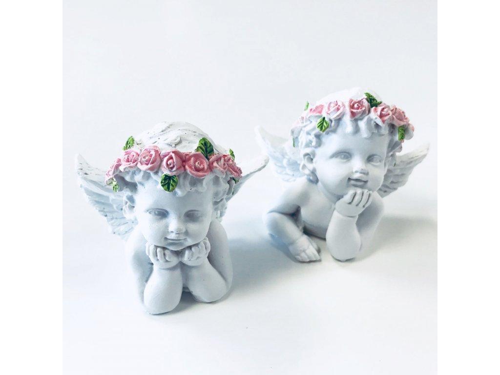 Zamyšlený Anděl s Růžovou Růží