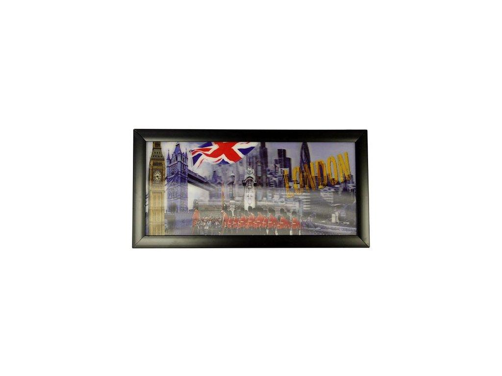 3D Obraz 23x50 cm Londýn & Vlajka