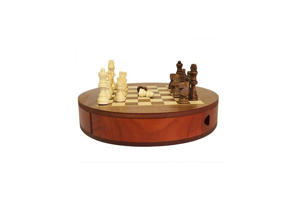 Kruhová Dřevěná Šachová Sada 30cm