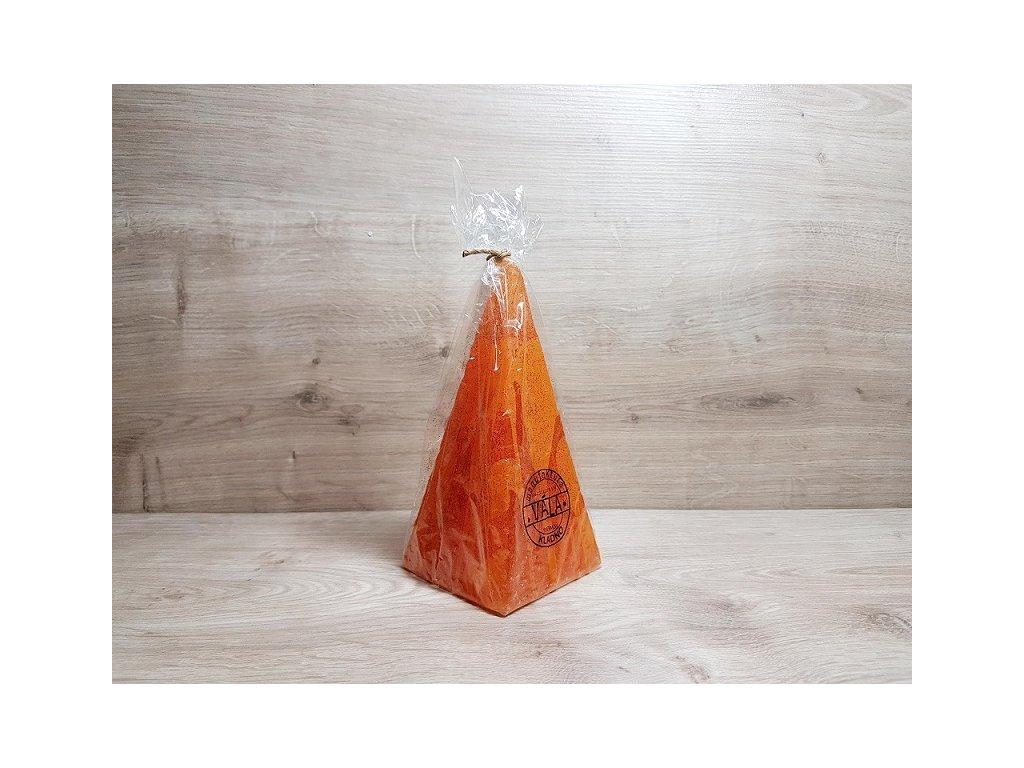 Pyramida oranzova se trpytkami