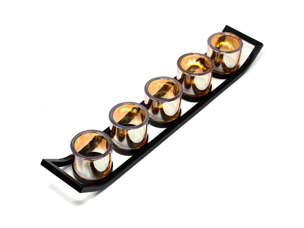 Kovový Votivní Svícen na 5 Svíček Lišta