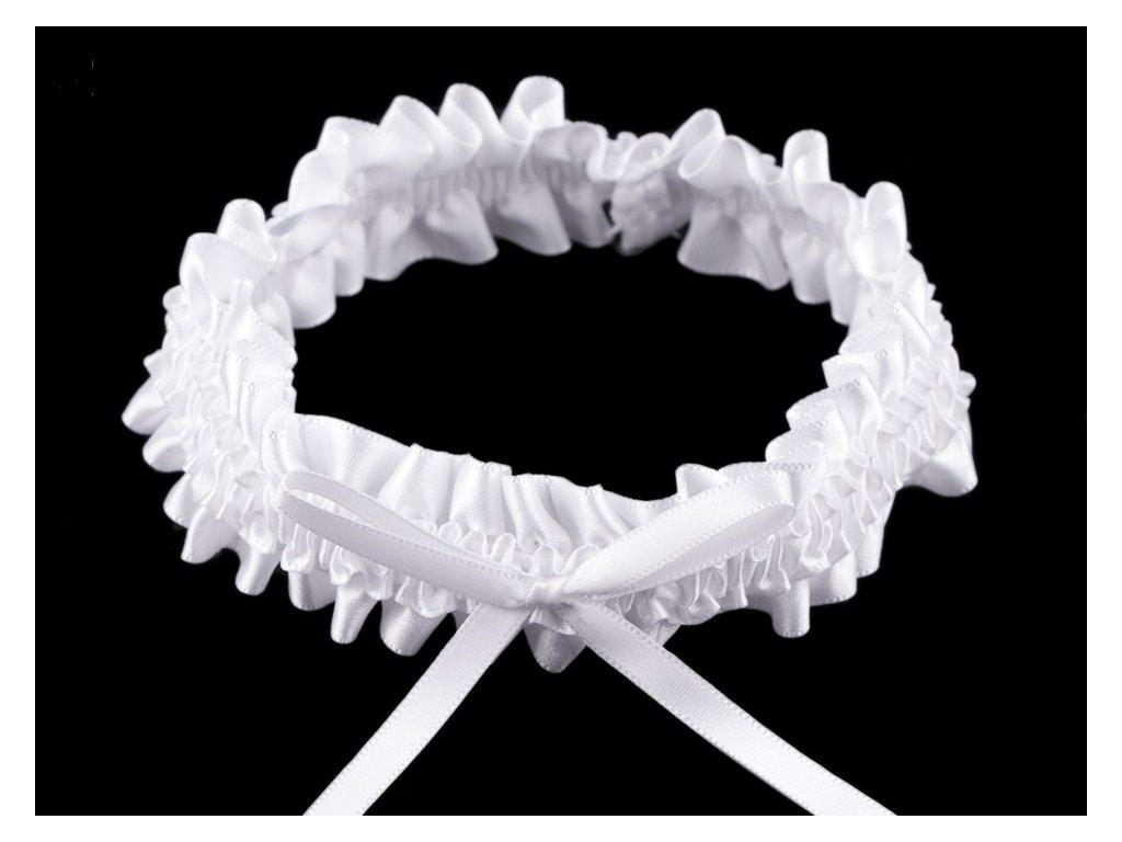 Svatební podvazek saténový šíře 3 cm s mašlí Bílý 3