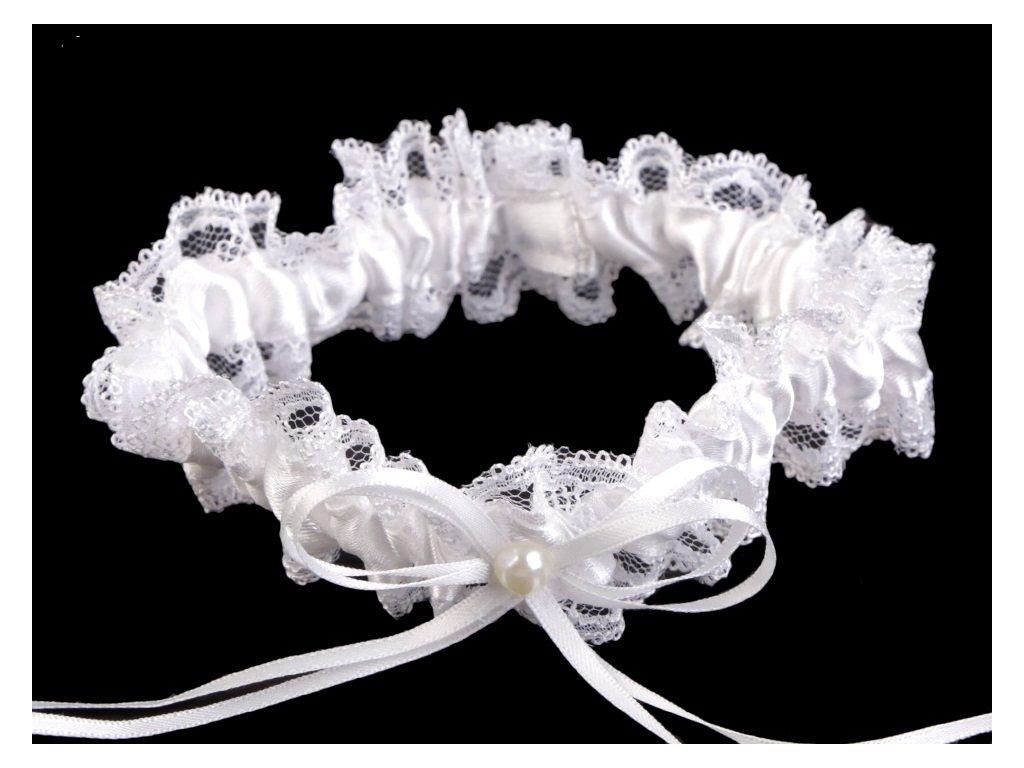 Svatební podvazek krajkový šíře 3,5 cm 1
