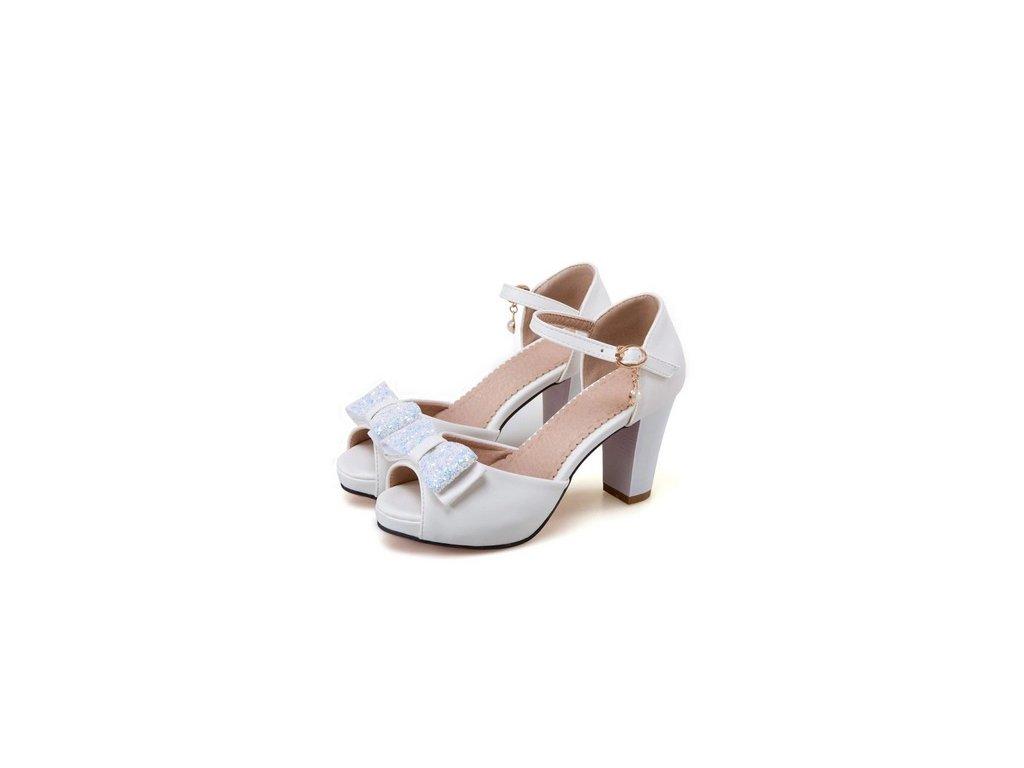 Dámské bílé sandále s mašlí