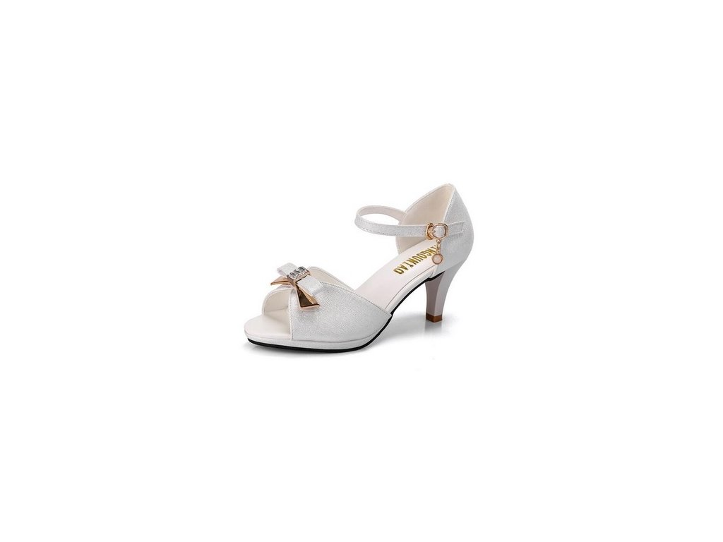 Dámské třpitivě bílé sandále s mašlí