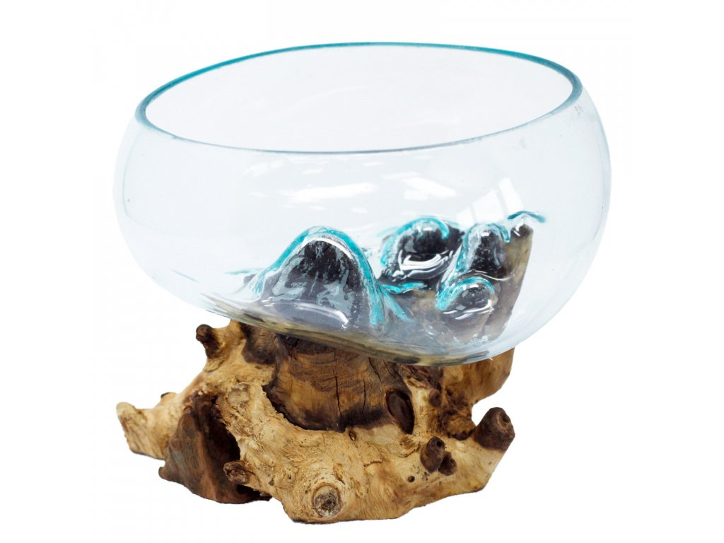 Tavené sklo na dřevě Velká otevřená miska