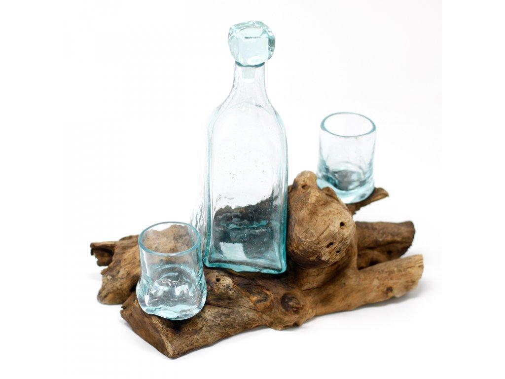 187628Tavené Sklo na Dřevě Whisky Set