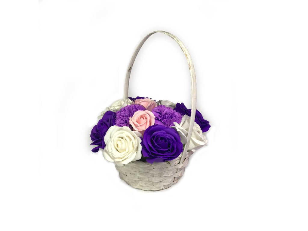 Mydlova kytice fialova zahrada v bilem kosiku 4 2