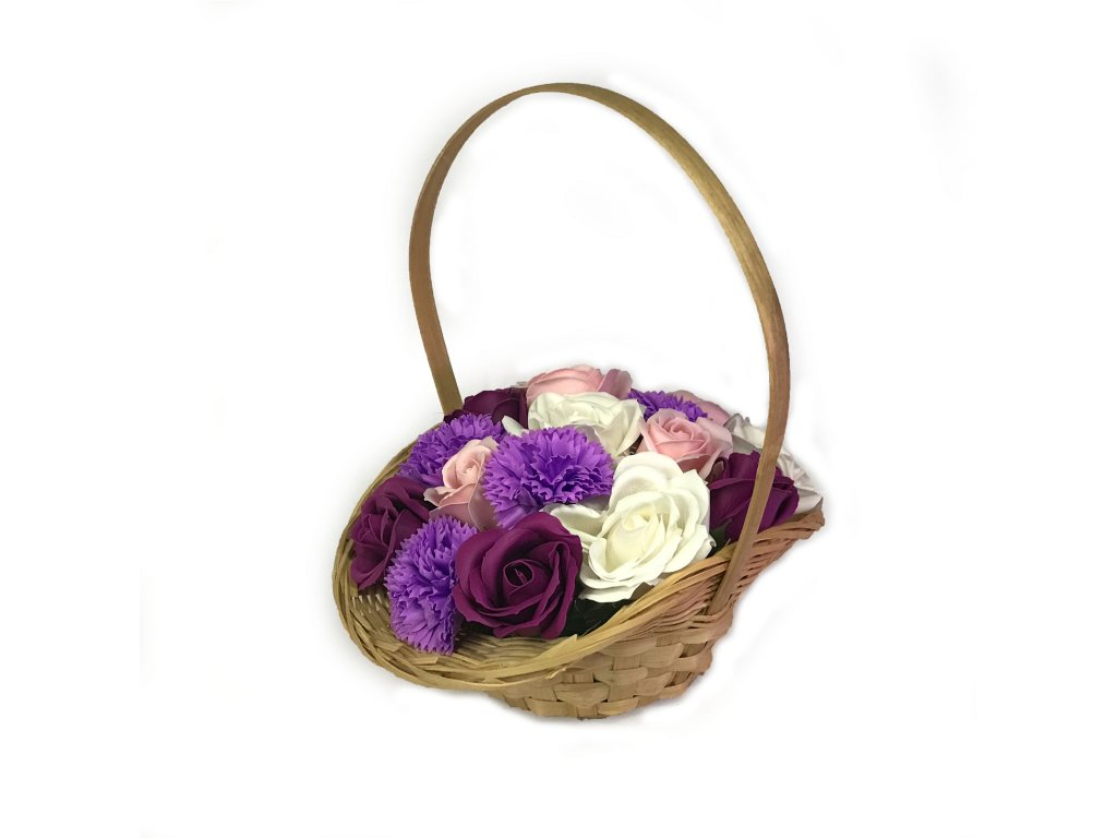 Mydlova kytice fialova zahrada v kosiku velka 3 2