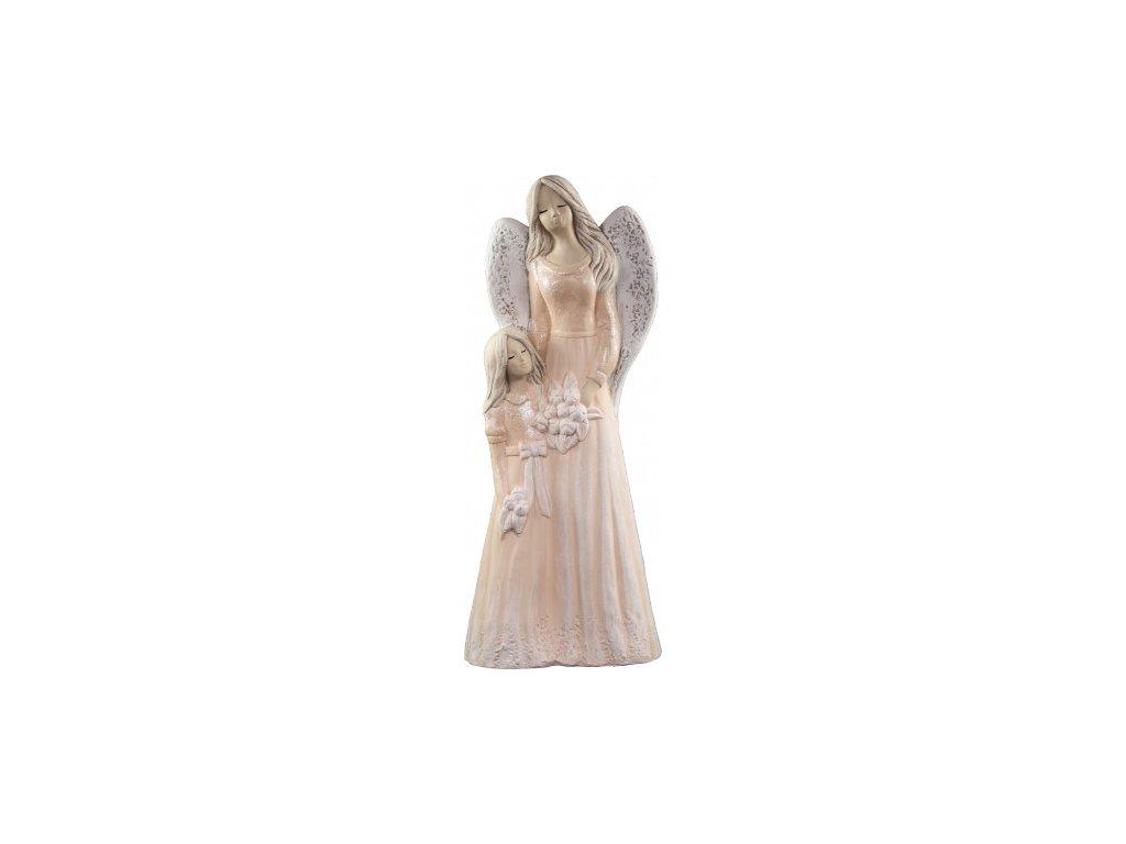 Anděl s holčičkou oranžový