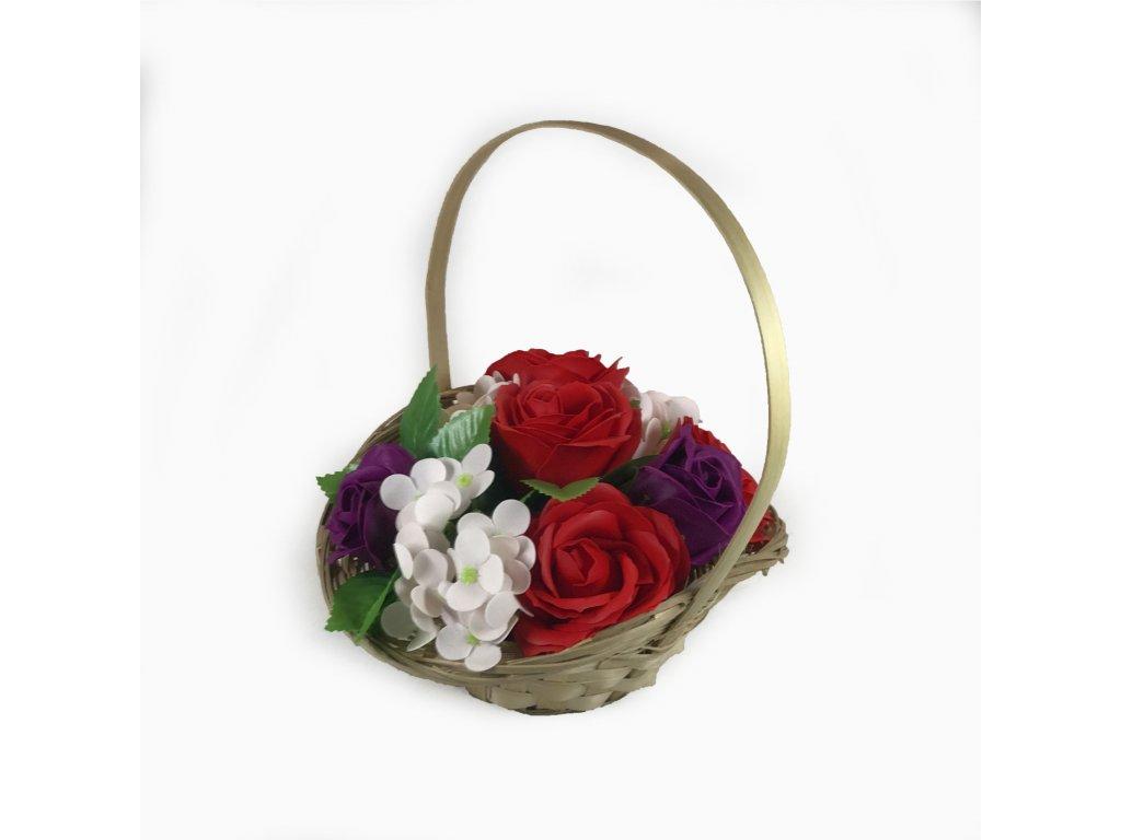 Mýdlová kytice v košíku červená