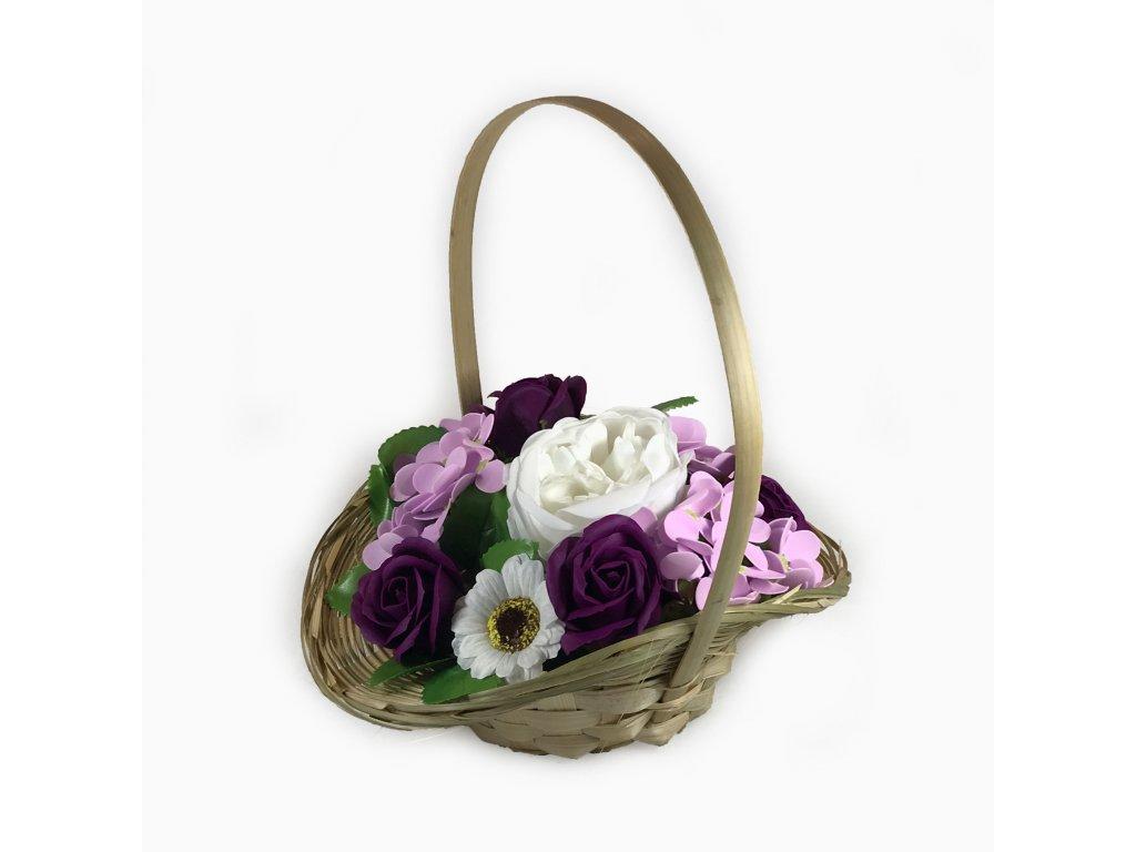 Mýdlová kytice v košíku fialová