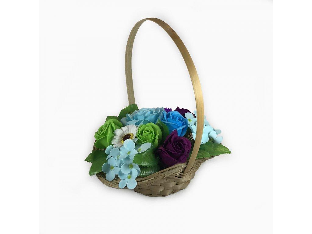 Mýdlová kytice v košíku letní