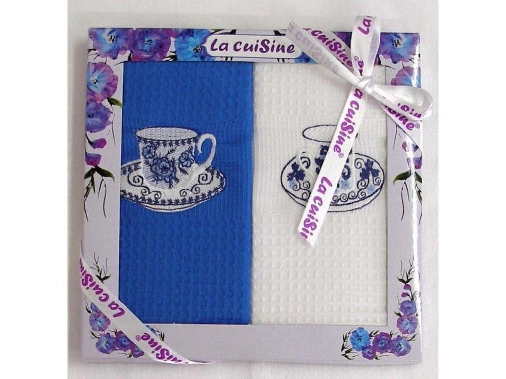 Dárkové balení 2 ks bavlněných utěrek, Modrá elegance, 50 x 70 cm