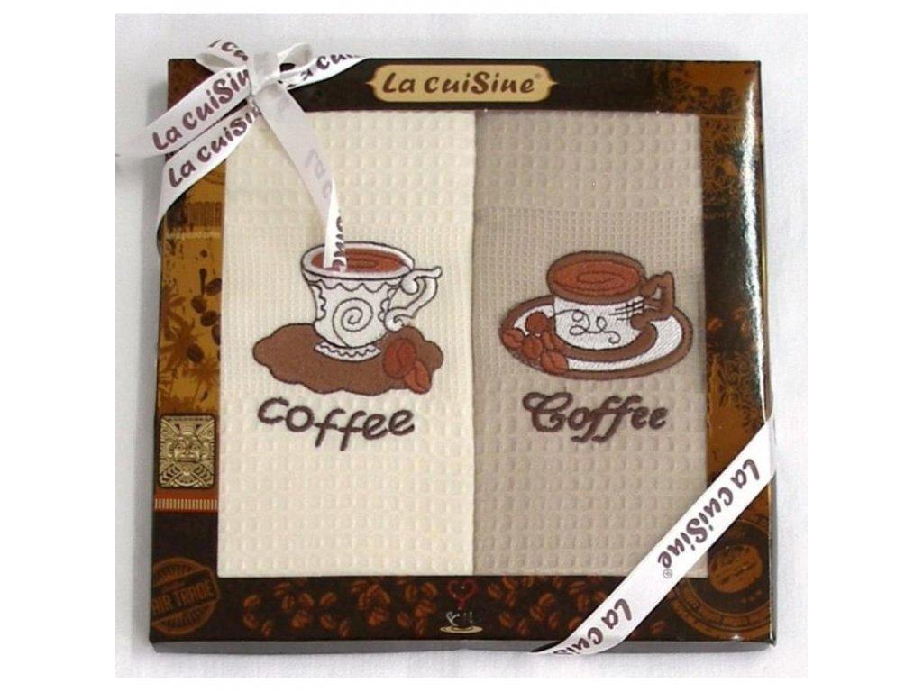 Dárkové balení 2 ks bavlněných utěrek, Coffe smetanovobéžové, 50 x 70 cm