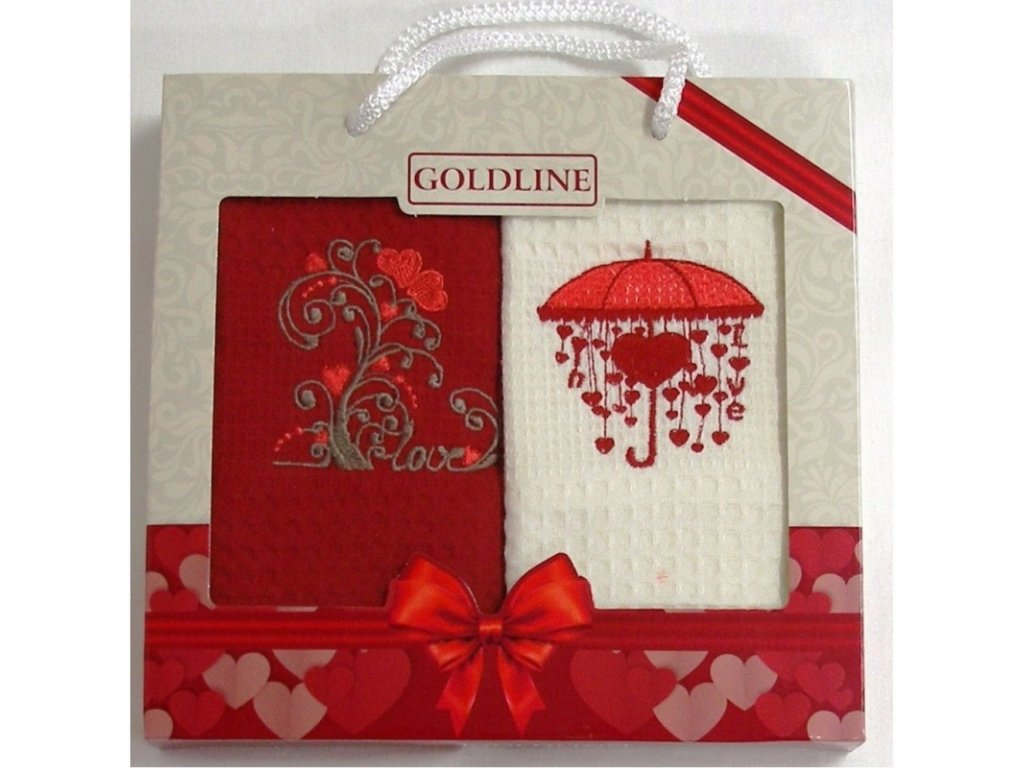 Dárkové balení 2 ks bavlněných utěrek, Valentýn, 50 x 70 cm