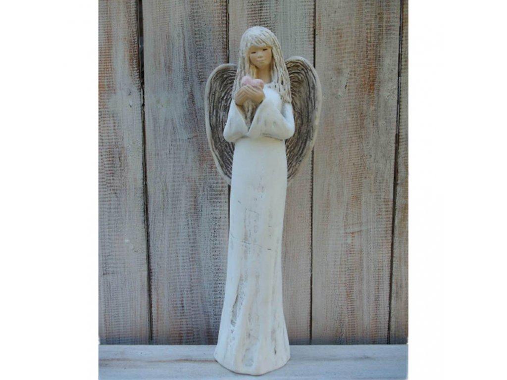 Anděl - víla stojící se srdcem 38cm