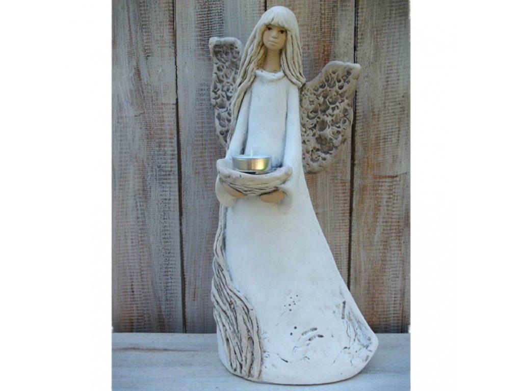 Anděl - víla stojící svícen 37cm