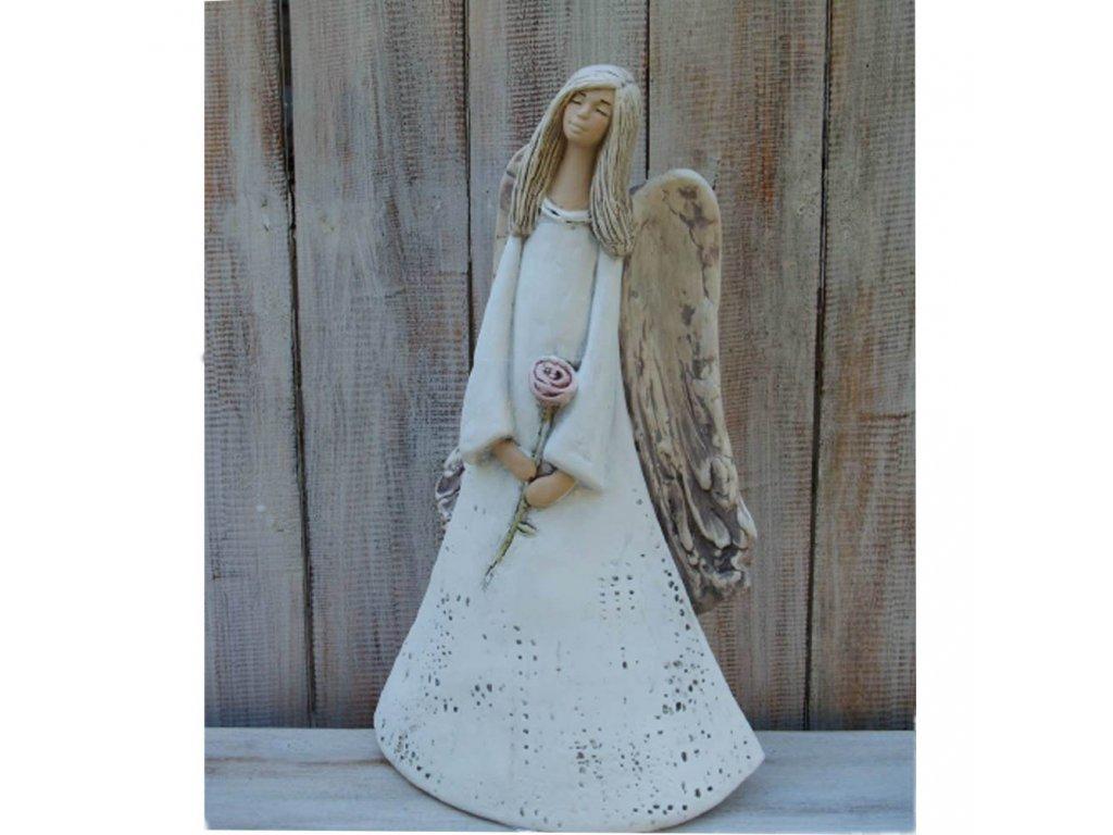 Anděl - víla s růží 37cm