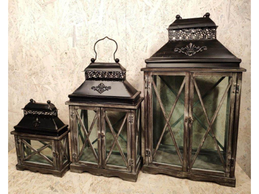Dřevěná lucerna Versaille - sada 3ks luceren 74cm, 54cm a 35cm