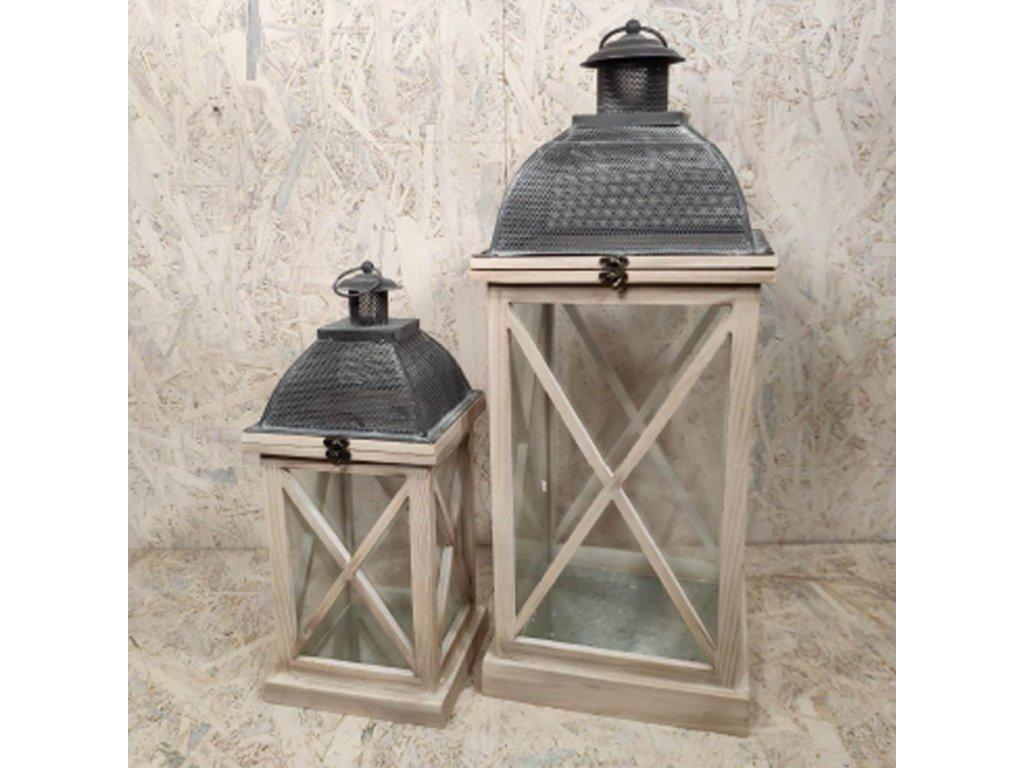 Dřevěná lucerna Minaret - sada 2ks luceren 61cm a 41cm