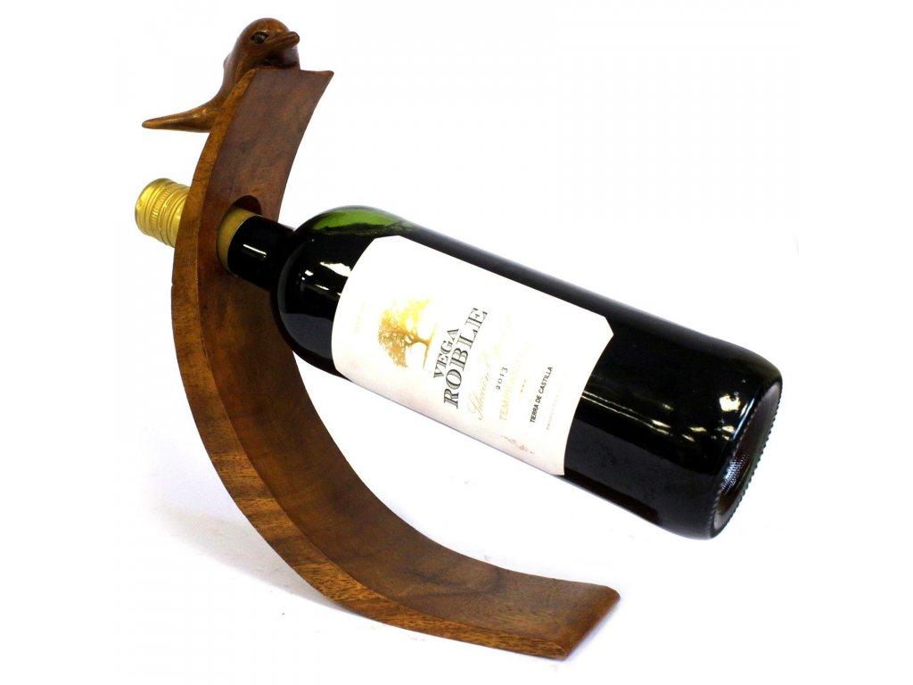 Dřevěný Stojan na Víno Delfín