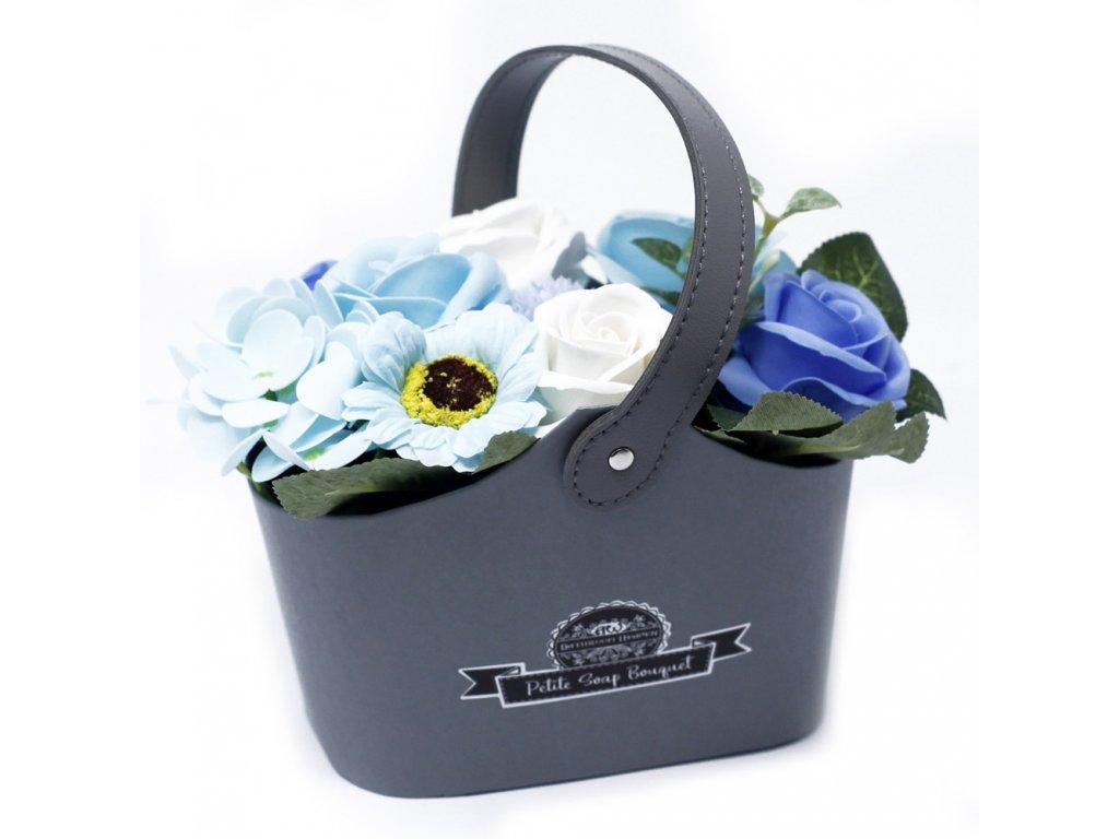 Malá mýdlová kytice v košíku Uklidňující modrá