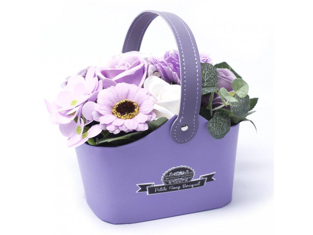 Malá mýdlová kytice v košíku Jemně Fialová