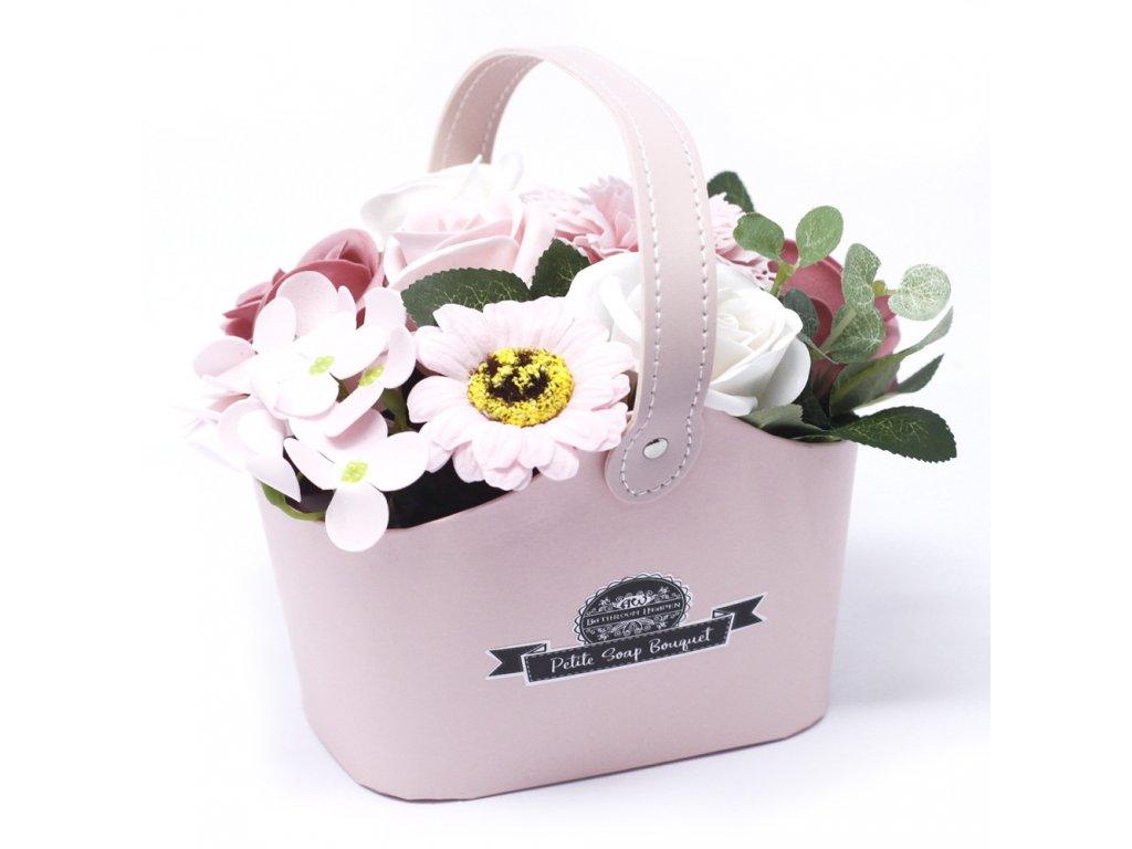 Malá mýdlová kytice v košíku Pokojná Růžová
