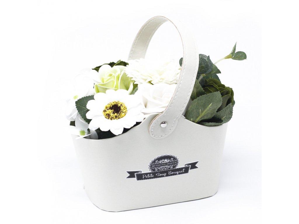 Malá mýdlová kytice v košíku Zelená
