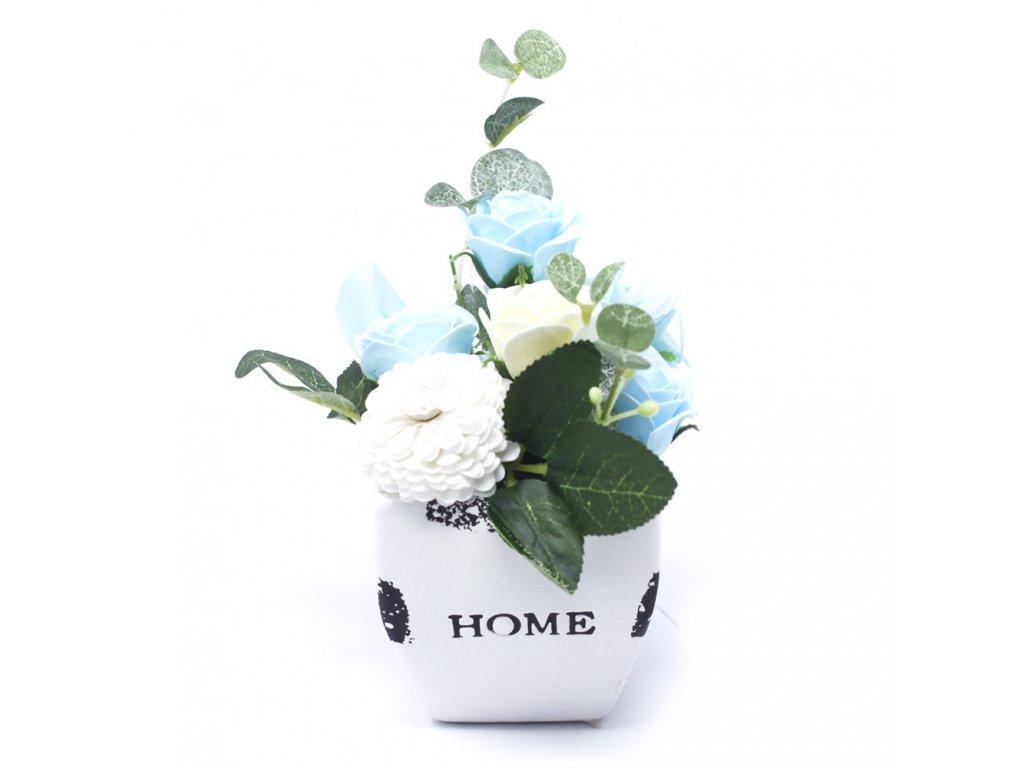 Malá mýdlová kytice v květináči Uklidňující modrá