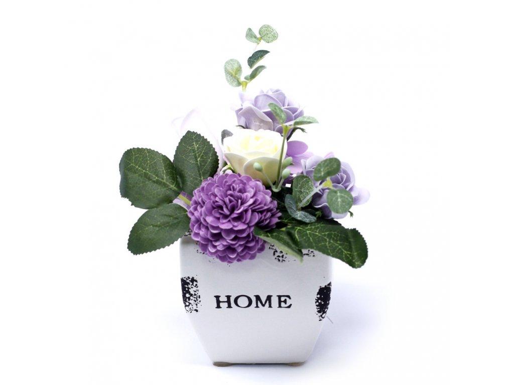 Malá mýdlová kytice v květináči Jemně Fialová