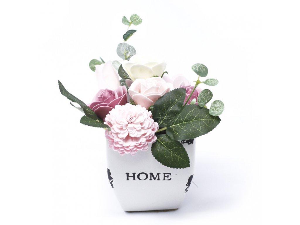 Malá mýdlová kytice v květináči Pokojná Růžová