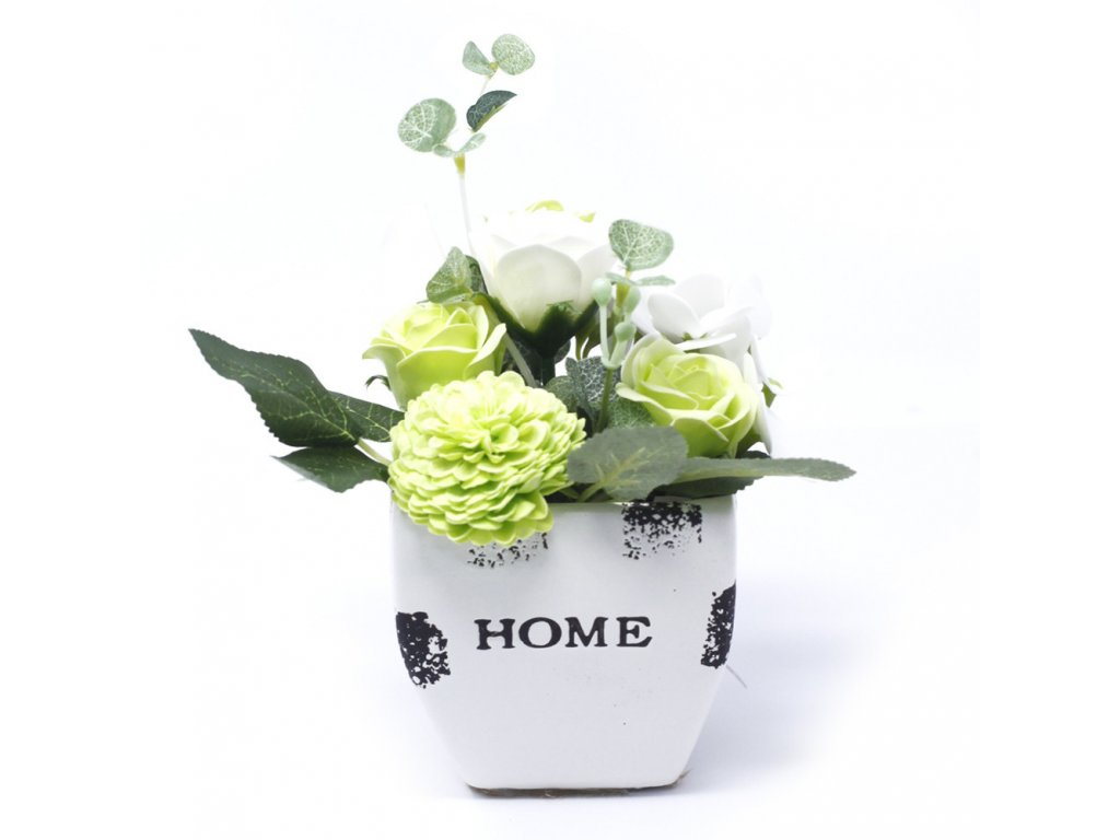 Malá mýdlová kytice v květináči Zelená