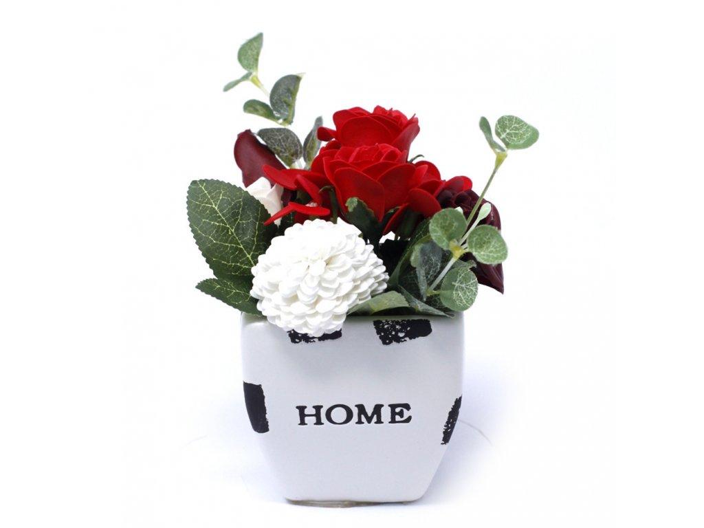 Malá mýdlová kytice v květináči Sytá Červená