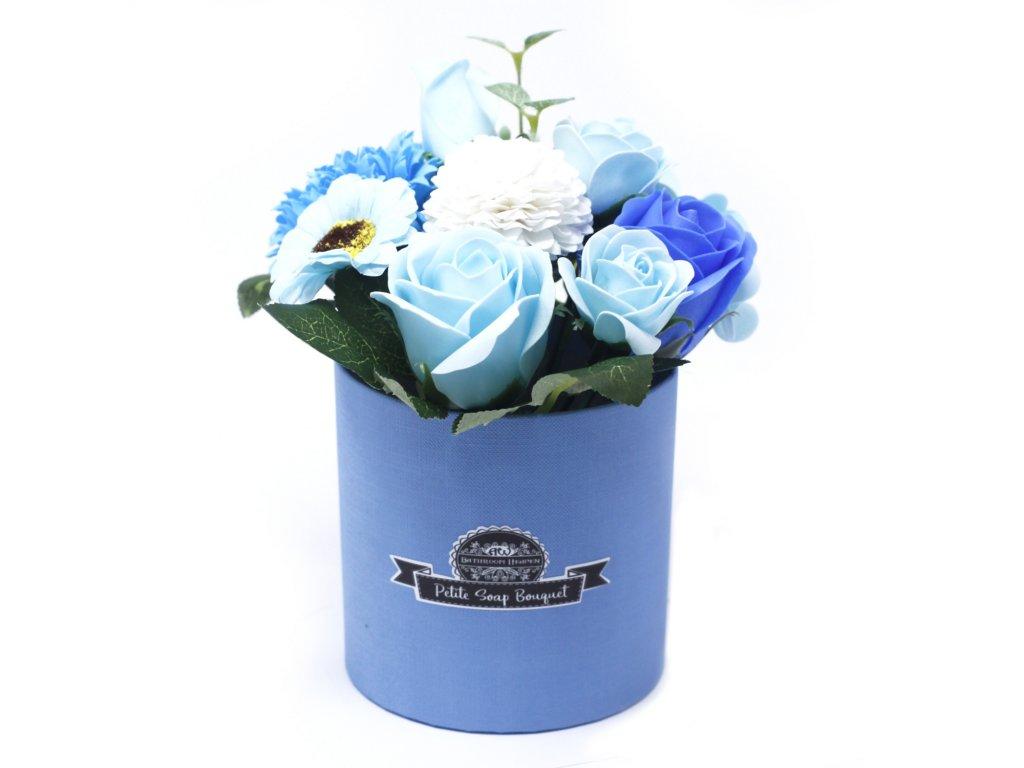 Malá mýdlová kytice v dárkové krabici Uklidňující modrá