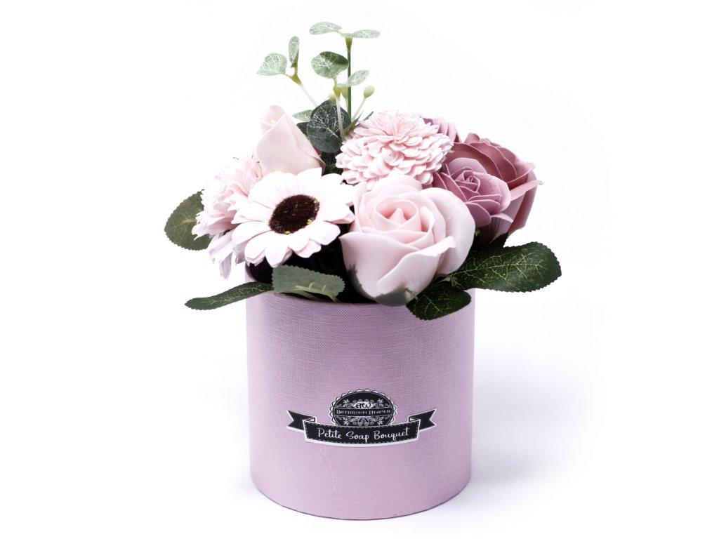 Malá mýdlová kytice v dárkové krabici Pokojná Růžová
