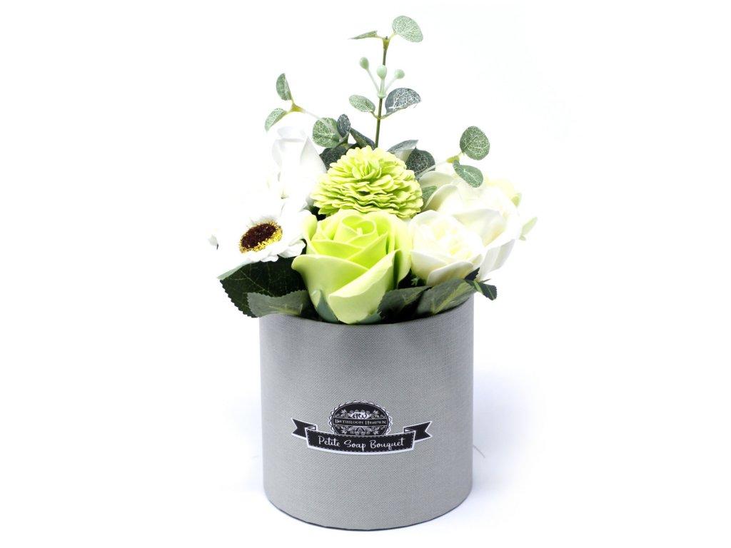Malá mýdlová kytice v dárkové krabici Zelená
