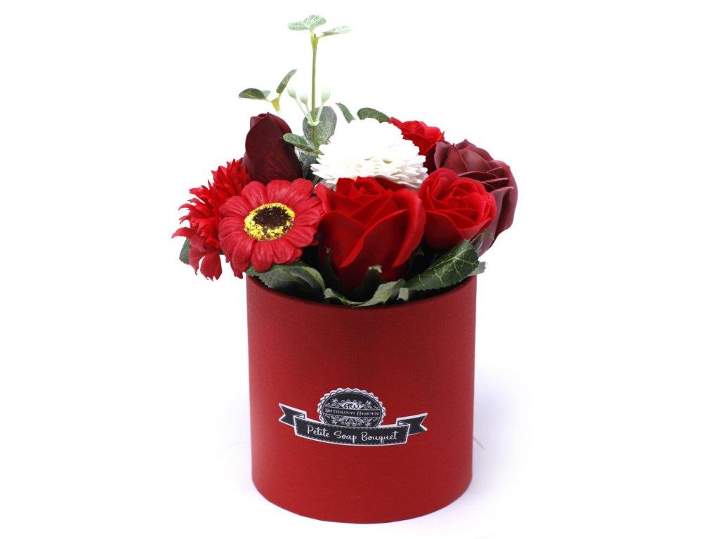 Malá mýdlová kytice v dárkové krabici Sytá Červená