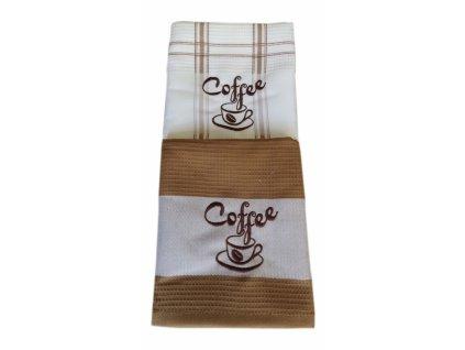Vyšívané utěrky DUO kava