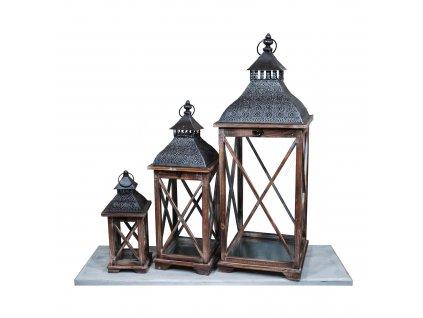 Dřevěná lucerna Orient hnědá - sada 3ks luceren 86cm, 63cm a 38cm