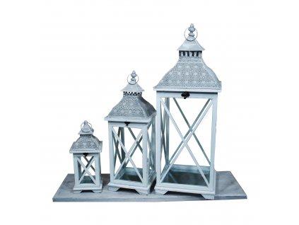 Dřevěná lucerna Orient bílá - sada 3ks luceren 86cm, 63cm a 38cm