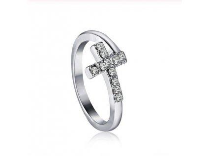 Dámský prsten z chirurgické nerezové oceli kříž s kamínky