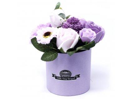 Malá mýdlová kytice v dárkové krabici Jemně Fialová