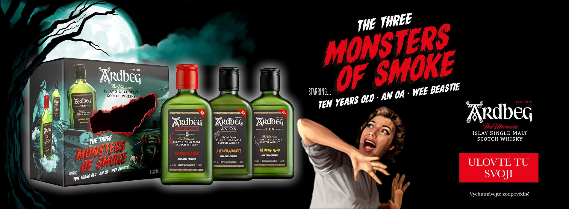 Ulovte si svou degustační Ardbeg Monsters of Smoke three pack sadu