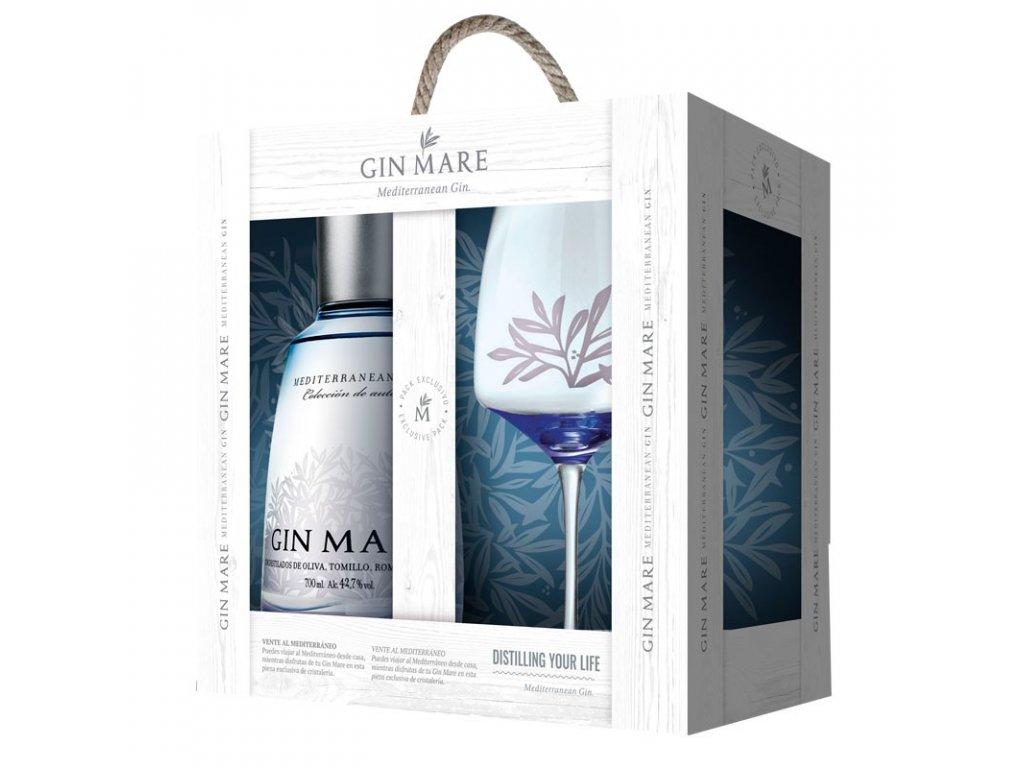 gin mare sklenicka v darkovem boxu