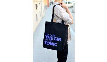 Černá Taška Gin&Tonic - recyklovaná bavlna 35x40 cm