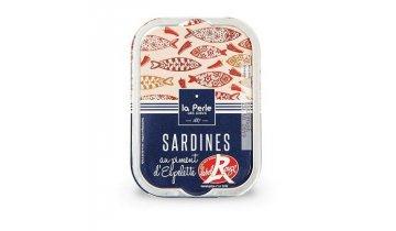 Francouzské sardinky Label Rouge s chilli papričkou Espelette, 115g produkt